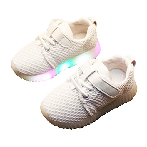 Kinder LED Schuhe Unisex - Unisex BabyschuheTurnschuhfreizeitschuh Leucht Kinderschuhe der Weihnachten Halloween Rosa/Schwarz/Weiß 21-30 Weiß