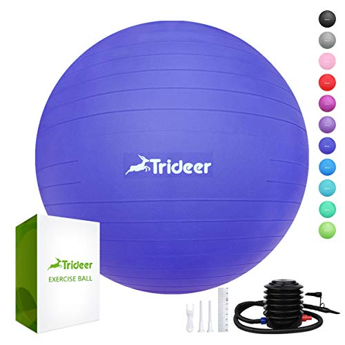 Only Tire Sharp - Trideer Exercise Ball (45-85cm) Extra Thick Yoga Ball Chair, Anti-Burst Heavy Duty Stability Ball Supports 2200lbs, Birthing Ball with Quick Pump (Office & Home & Gym)