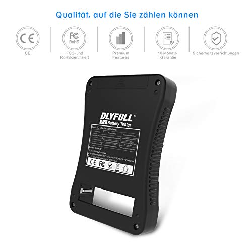 Universal-Batterietester mit LCD-Display von Dlyfull, Mehrzweckbatterieprüfer für AA/AAA, CD, 9V, CR123A, CR2, CRV3, 2CR5, CRP2, 1.5V und 3V Knopfzellen (AAA-Akku enthalten)