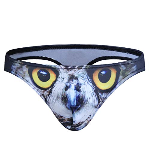 WUAI Mens Thongs G-String Bikini Briefs Bulge Pouch 3D Animal Printed Hipster Hot Underwear Sexy for Men (Black,X-Large) (Mens Underwear Plus Sexy Size)