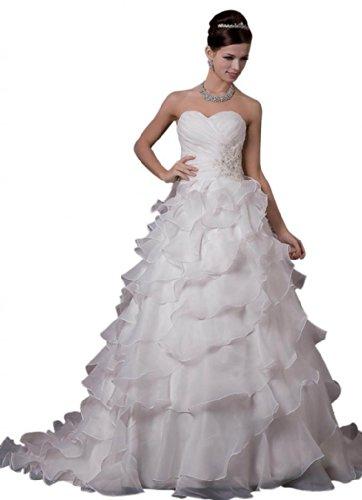Dearta Women's A-Line Sweetheart Court Train Wedding Dresses US 10 ()