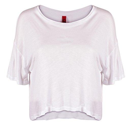 GCKNITWEAR'S Women's Casual Basic Flowy Crop Top T-Shirt, White, Medium