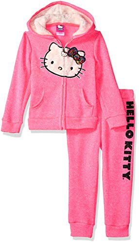 Hello Kitty Little Girls 2 Piece Hooded Fleece Active Set, Neon Pink 5