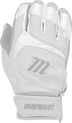 Marucci Adult Signature Baseball Batting Gloves, White, Large