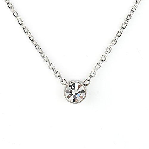 Swarovski Cocktail (Elegant Silver Tone Designer Solitaire Necklace with Swarovski Style Crystal)