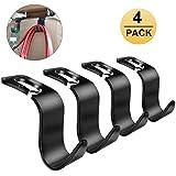 Fourcase 4Pack Car Hook Back Headrest Hooks,Universal Car Vehicle Seat Hanger Holder Hook Organizer for Bag Purse Handbag Cloth (Black)