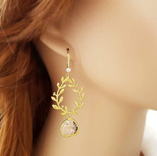 Gold Laurel Chandelier Crystal (baken Gold Leaf Earrings, Long Drop Earrings, Teardrop Crystal Earrings Dangle, Laurel Earring Chandelier, Gold Flower Jewelry Bridal E2590)