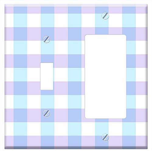 1-Toggle 1-Rocker/GFCI Combination Wall Plate Cover - Scrapbook Scrapbooking Checks Gingham Paper 1