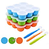 Silicone Food Storage Containers,Baby Food Freezer Trays Mold with Clip-On Lids +Spoon BPA Free and FDA Approved for Vegetable,Fruit Purees,Breast Milk-Green