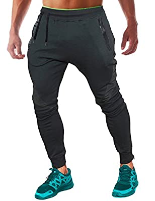 FLYFIREFLY Men's Slim Gym Bodybuilding Pants Fashion Spliced Workout Running Jogger Sweatpants