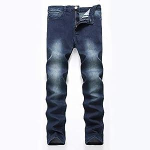 Men's Blue Skinny Jeans Stretch Washed Slim Fit Straight Basic Denim Pencil Pants