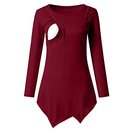 HKDGID Women's Maternity Nursing Tops Shirts Irregular Hem Tunic Breastfeeding Clothes Red