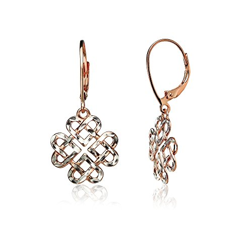 Two Tone Dangling Heart (Rose Gold Flashed Sterling Silver Two-Tone Diamond-cut Celtic Heart Love Knot Leverback Earrings)