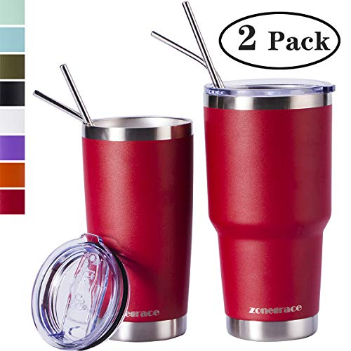 (Zonegrace Wine Red 20oz and 30oz Insulated Tumblers with Lid & Gift Box | Stainless Steel Coffee Cup | Double Wall Vacuum Insulated Travel Coffee Mug with Splash Proof slid lid)
