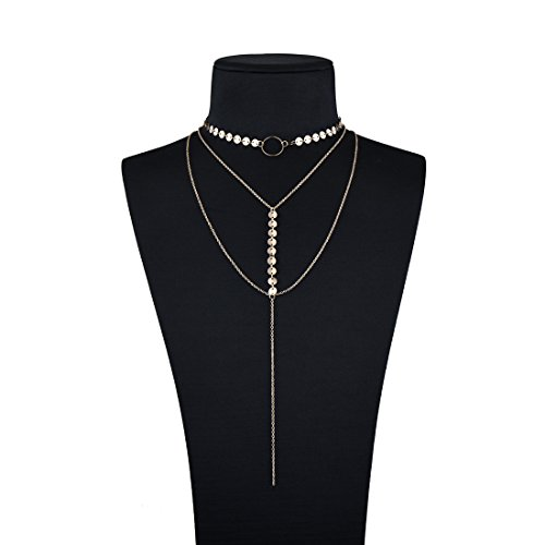 Triple Circle Link Chain - Bowisheet Multilayer Necklace Lariat Bar Drop Y Link Chain Necklaces For Women Jewelry