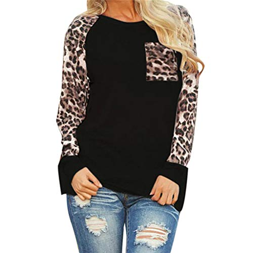 Aniywn Womens Long Sleeve Leopard Blouse Casual Loose Tops with Pocket Oversize Pullover