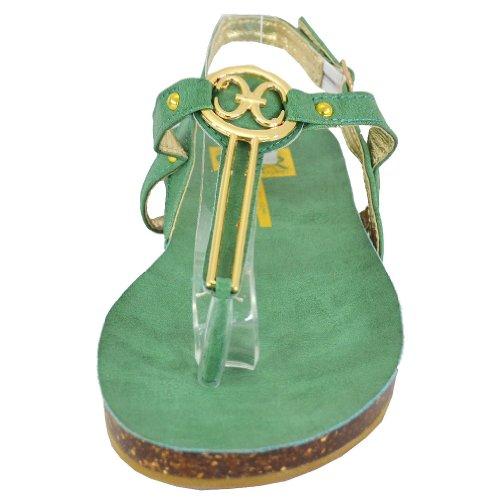 Cape Robbin Women's Delia-1 Flat Sandals, Green