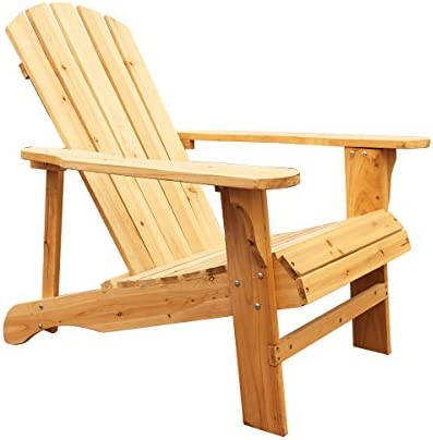LOKATSE HOME Wood Single Adirondack Chair, Natural