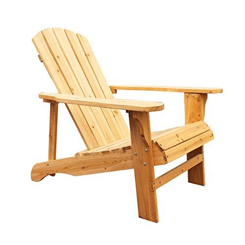 LOKATSE HOME Wood Single Adirondack Chair, Natural