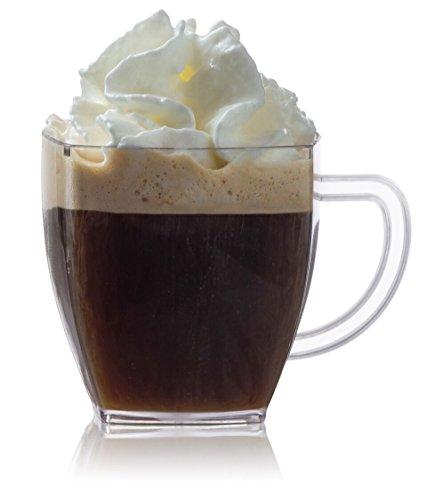 (Zappy Square 2 Oz Mini Coffee Espresso Cappuccino Mugs 24 Ct Small Dessert Shot Glasses Party Wedding Cups Disposable Plastic Mug)