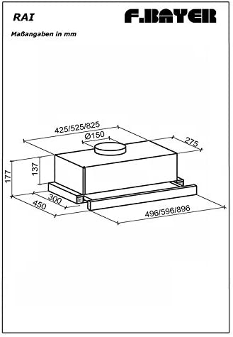F.BAYER RAI 90E - Campana extractora (90 cm, 900 m3/h, LED, acero inoxidable): Amazon.es: Grandes electrodomésticos