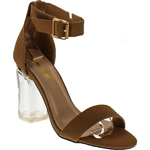 Liliana X2b Oya-1 Clear See Through Dress Sandal W Lucite Perspex Acrylic High Heel,Oya1nude,10 (High Acrylic Heel)