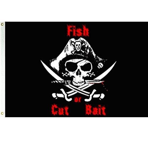 Fish or Cut Bait  Pirate 3x5 Polyester Flag by Vista Flags