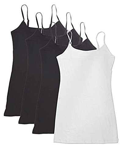 4 Pack Active Basic Women's Basic Tank Top (M-Bk/Bk/Bk/Wh) (Top Products)