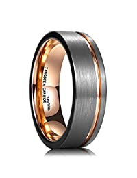 King Will Tungsten Carbide Wedding Ring 7mm Rose Gold Line Flat Pipe Cut  Brushed Polished Comfort