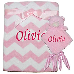 Personalised Baby Boy Girl Blanket & Comforter Sets Christening Shower Announcement (Pink Zigzag Teddy)