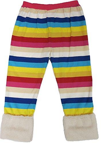 Wenchoice Girls Rainbow Legging With Cream Fur Trim         L 5T 6T