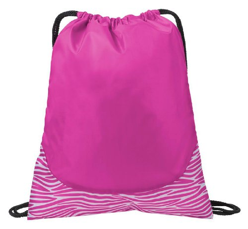 Port Authority Patterned Drawcord Cinch Pack_Zebra Pink/Wht_One Size