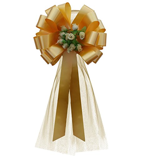 Gold Wedding Pull Bows with Gold Tulle Tails and Rosebuds - 8