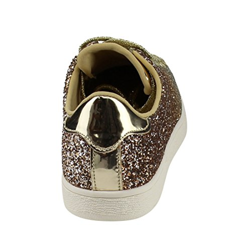 Lace Leatherette Metallic 1 Women Up Sneaker Glitter Top Up Low Light Weight Stylish Lace Shoe Fashion Quilted Glitter Gold 9 HRBBqXvI