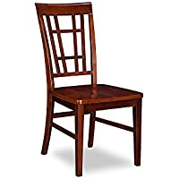 Montego Bay Dining Chairs Set of 2 with Wood Seat, Antique Walnut