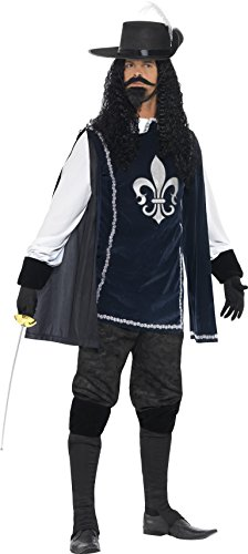 Smiffy's Men's Musketeer Male Costume, Multi, (Funny Male Halloween Costumes Uk)