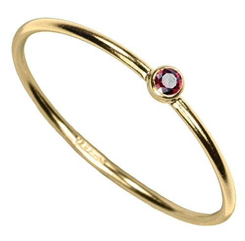 uGems 14kt Gold Filled Garnet-Red-Color CZ Stacking Ring Size 7