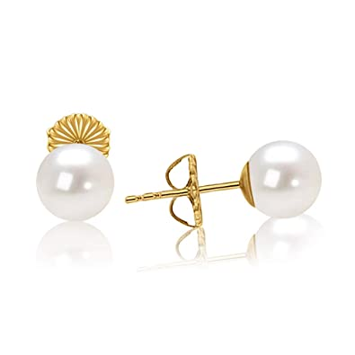 f1103303c14 JORA 18K Gold Plated Sterling Silver 6mm Round White Small Simulated Pearl  Stud Earrings for Women