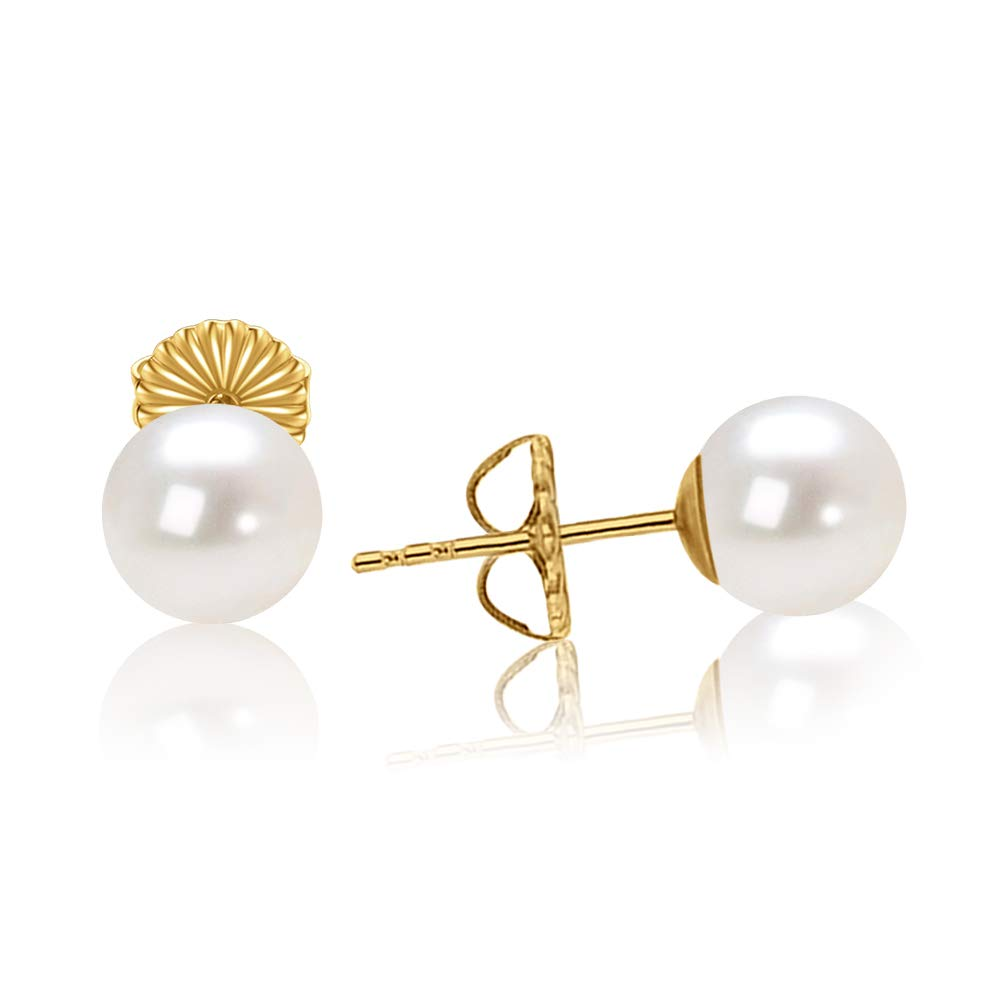 18K Gold Plated Sterling Silver 6mm Round White Small Simulated Pearl Stud Earrings for Women