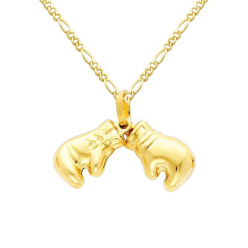 The World Jewelry Center 14k Yellow Gold Double Boxing Glove Pendant with 1.6mm Figaro Chain Necklace - 20