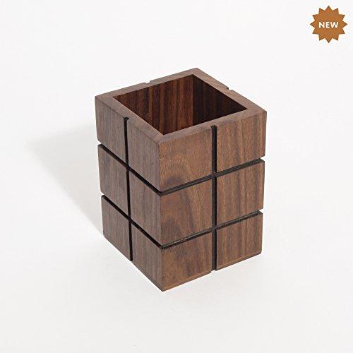(Rusticity Wooden Pencil/Pen Holder Desk, Office Home | Handmade | (3 x 3 x 4 in))
