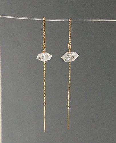 Herkimer Diamond Quartz Box Chain Threader Earrings in Gold Fill or Sterling Silver