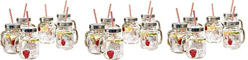 Estilo Mason Jar Mugs with Handle and Straws Old Fashioned Drinking Glass Set 6, 16 oz Each (3-(Pack))