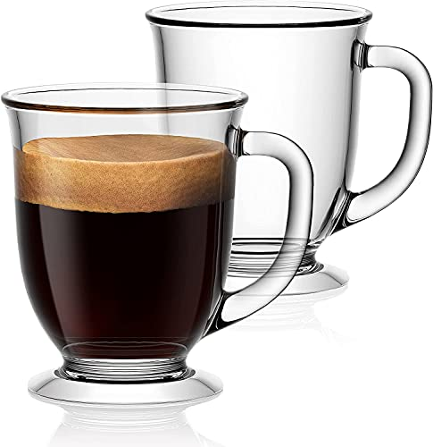 HonestShop 15oz/450ml Glass Coffee Mugs Clear Coffee Cups, Large Glass Mugs With Handles for Hot Beverages, Clear Mugs…
