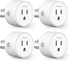 Smart Plug Compatible with Alexa Google Assistant for Voice Control, Teckin Mini Smart Outlet Wifi Socket with Timer...