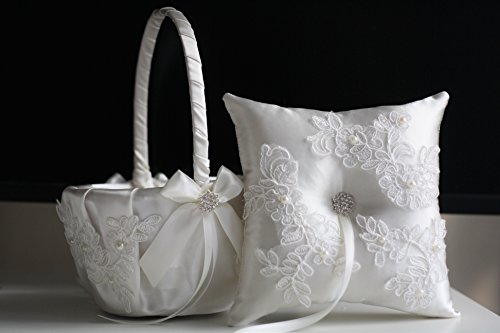 White Ring Bearer Pillow & Wedding Flower Girl Basket Set | Alex Emotions | Lace Applique Collection ()