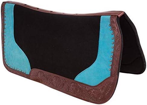 AceRugs ターコイズ ブルー ウェスタン プレジャー バレル レーシング セラピー ホース サドル パッド ブラック ウール フェルト 32X30  HORSE