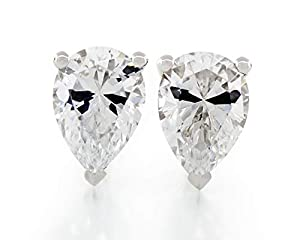 Acacia Collection Premium Quality Simulated Diamond CZ Hypoallergenic Nickel Free Sterling Silver Stud Earrings Pear 4 Carat (ctw) 10x7mm