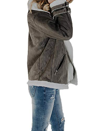 Sidefeel Women Faux Suede Jacket Zipper Up Front Coat Outwear with Pockets XX-Large Grey by Sidefeel (Image #1)