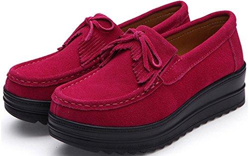 Mocassini Piattaforma Donna, Zeppe In Pelle Con Tacco Medio Scarpe Da Lavoro Casual 4 Colori Taglia 5,5-8 Rosa Rossa